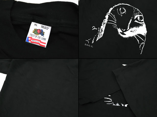 80's〜 FRUIT OF THE LOOM ''CAT'' 黒ボディ Tシャツ 表記(XL) DEAD