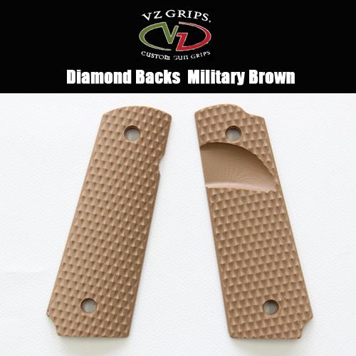 【VZ Grip】1911フルサイズ用 DB-MB-SS-A Diamond Backs Military Brown