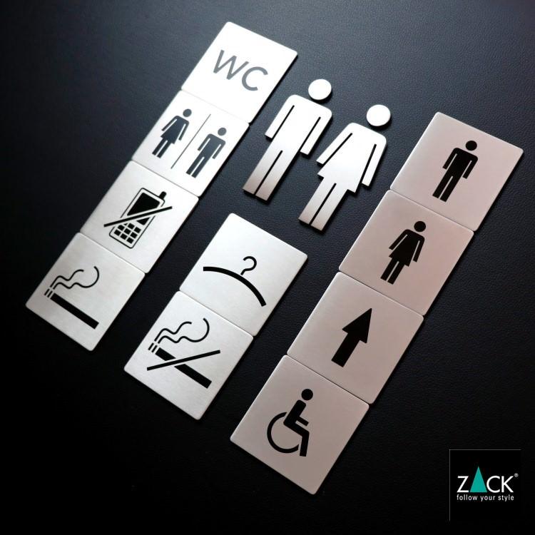 ZACK 50712 INDICI ドイツZACK社製モダンデザインのピクトグラム(男女兼用トイレ表示板)[在庫有り]
