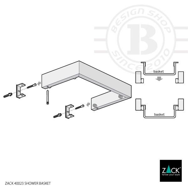 ZACK 40023 LINEA ドイツZACK社製モダンデザインのシャワーバスケット 壁付けタイプ DIY [在庫有り]
