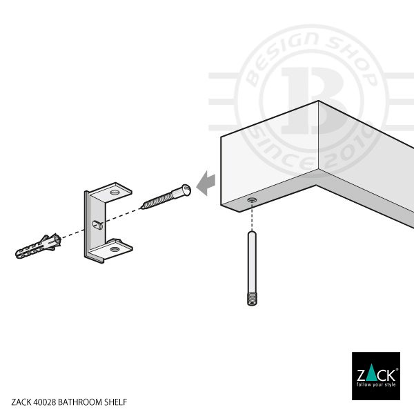 ZACK 40028 LINEA ドイツZACK社製モダンデザインのバスルームシェルフ HG 壁付けタイプ DIY [在庫有り]