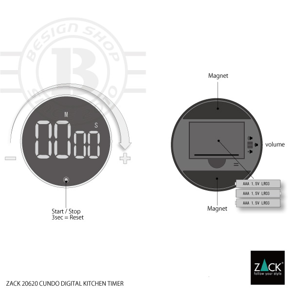 ZACK 20620 CUNDO ドイツZACK社製モダンデザインのデジタルキッチンタイマー [在庫有り]