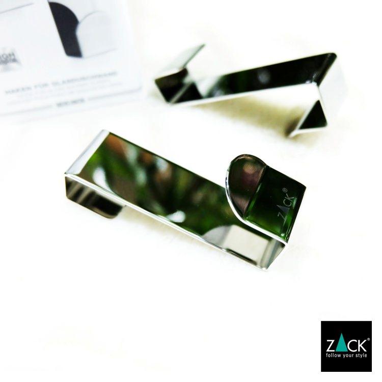 ZACK 40262 MITOR ドイツZACK社製モダンデザインのガラス用シャワーフック(2個入)[在庫有り]