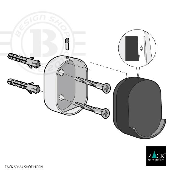 ZACK 50654 CALZO ドイツZACK社製モダンデザインのシューホーン 壁付けタイプ DIY [在庫有り]
