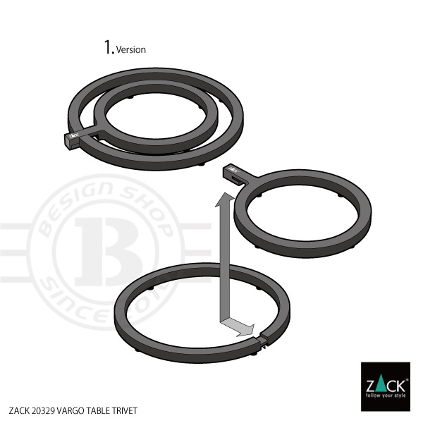 ZACK 20329 VARGO ドイツZACK社製モダンデザインのテーブルトライベット(鍋敷き) [在庫有り]