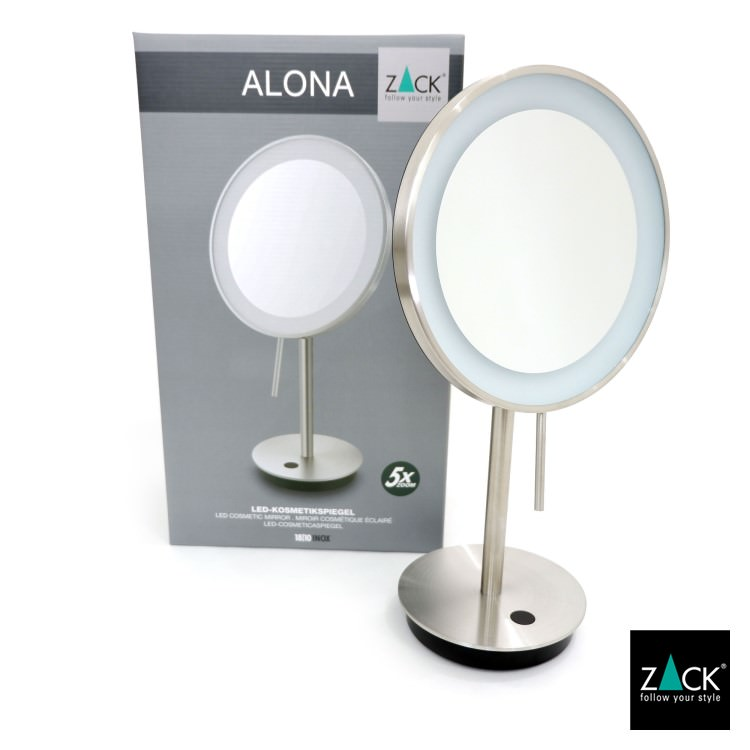 ZACK 40140 ALONA  ドイツZACK社製モダンデザインのLED メイクアップミラー(X5倍) ヘアライン仕上げ [在庫有り]