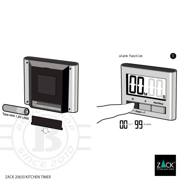 [廃番] ZACK 20650 SAVIO ドイツZACK社製モダンデザインのデジタルキッチンタイマー