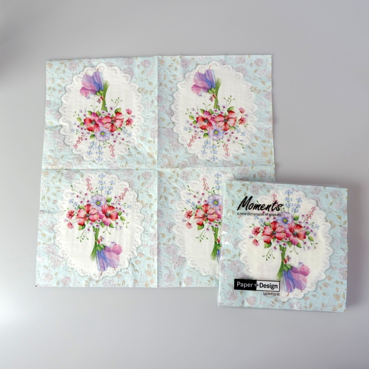ランチナプキン(16枚入)33x33cm PAPER+DESIGN フラワー パープル×レッド花束 PD24054 [在庫有り]