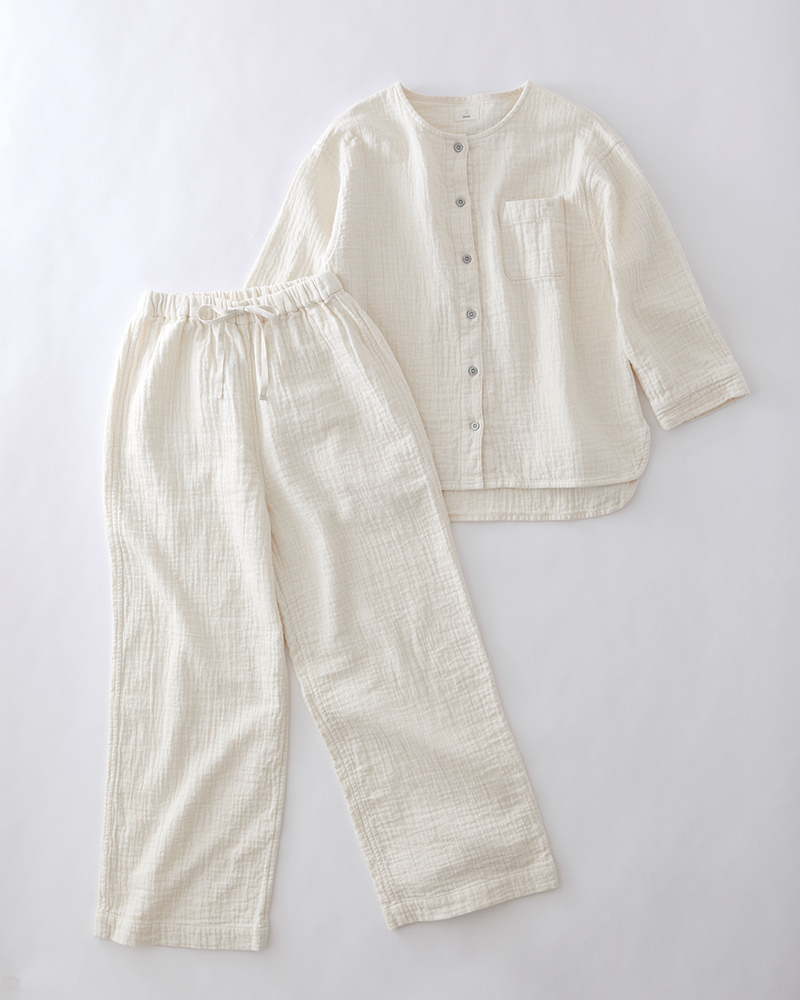 大人の産衣 ダブルガーゼ パジャマ レディース 長袖(9分袖) 日本製 blissful/ブリスフル