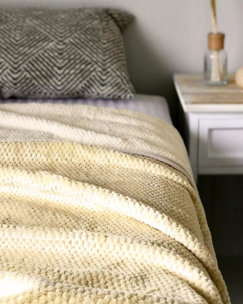 ふわふわ ワッフル編み 綿毛布 シングルサイズ ハニーベージュ 日本製 blissful/ブリスフル