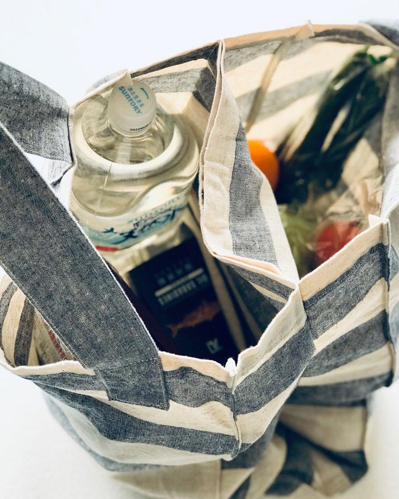 仕切れる  丈夫なツイントートバッグ エコバッグ ヨガバッグ 播州織 綿麻スラブダンガリー ボーダー 日本製 blissful/ブリスフル