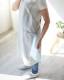 肩のこらないエプロン バッククロス  綿麻 スラブダンガリー 男女兼用 杢グレー 日本製 blissful/ブリスフル