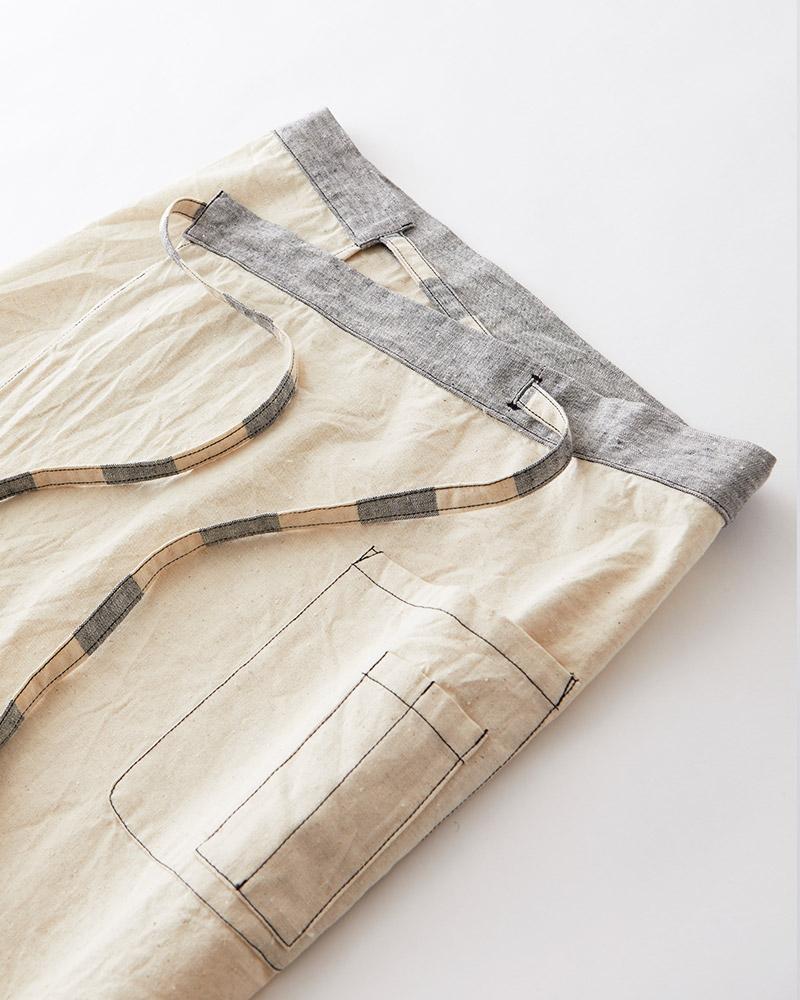カフェエプロン 母の日ギフト 綿麻スラブダンガリー メンズにもおすすめ キナリ 日本製 blissful/ブリスフル