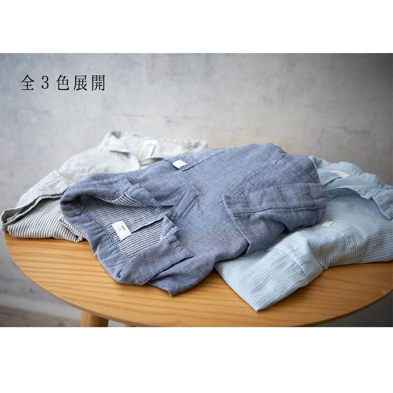 インディゴ染め ダブルガーゼ チュニックシャツ レディース 半袖(6分袖) ホワイト(ストライプ)  日本製 blissful/ブリスフル