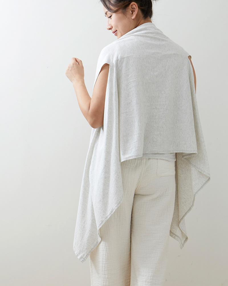 オーガニックコットン 羽織れるスト−ル 大判 ガーゼ天竺 ライトグレー 日本製 blissful/ブリスフル