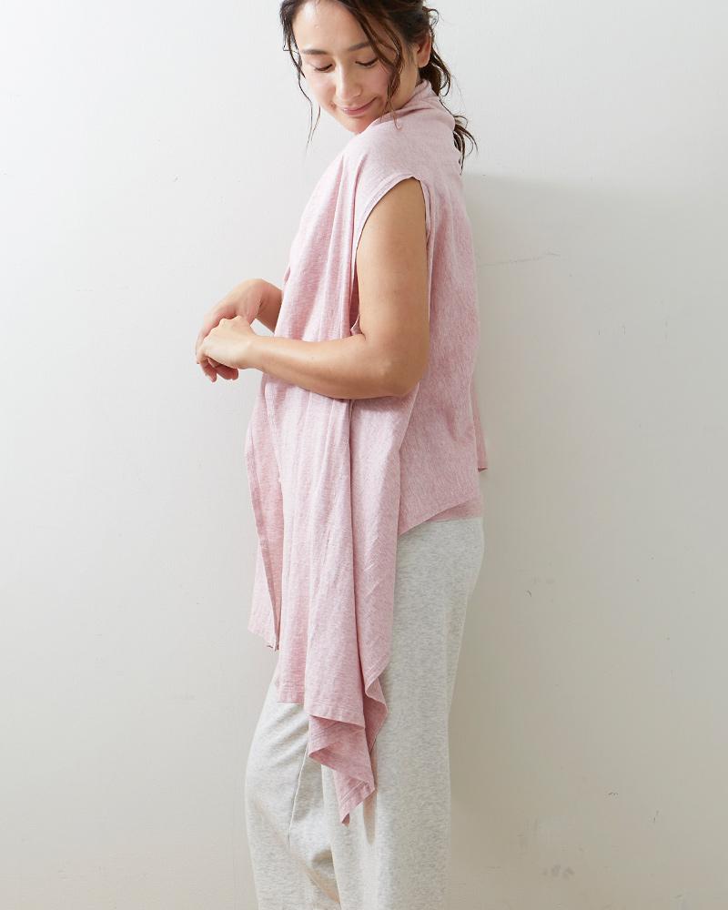 オーガニックコットン 母の日ギフト 羽織れるスト−ル UV対策 大判 ガーゼ天竺 コーラル 日本製 blissful/ブリスフル