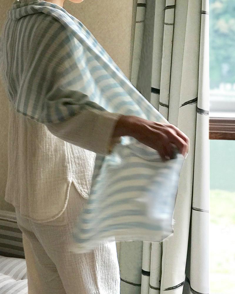 ガーゼストール 母の日ギフト UV対策 インディゴ染め  天然水仕立て 大判 男女兼用 ライトブルー 日本製 blissful/ブリスフル