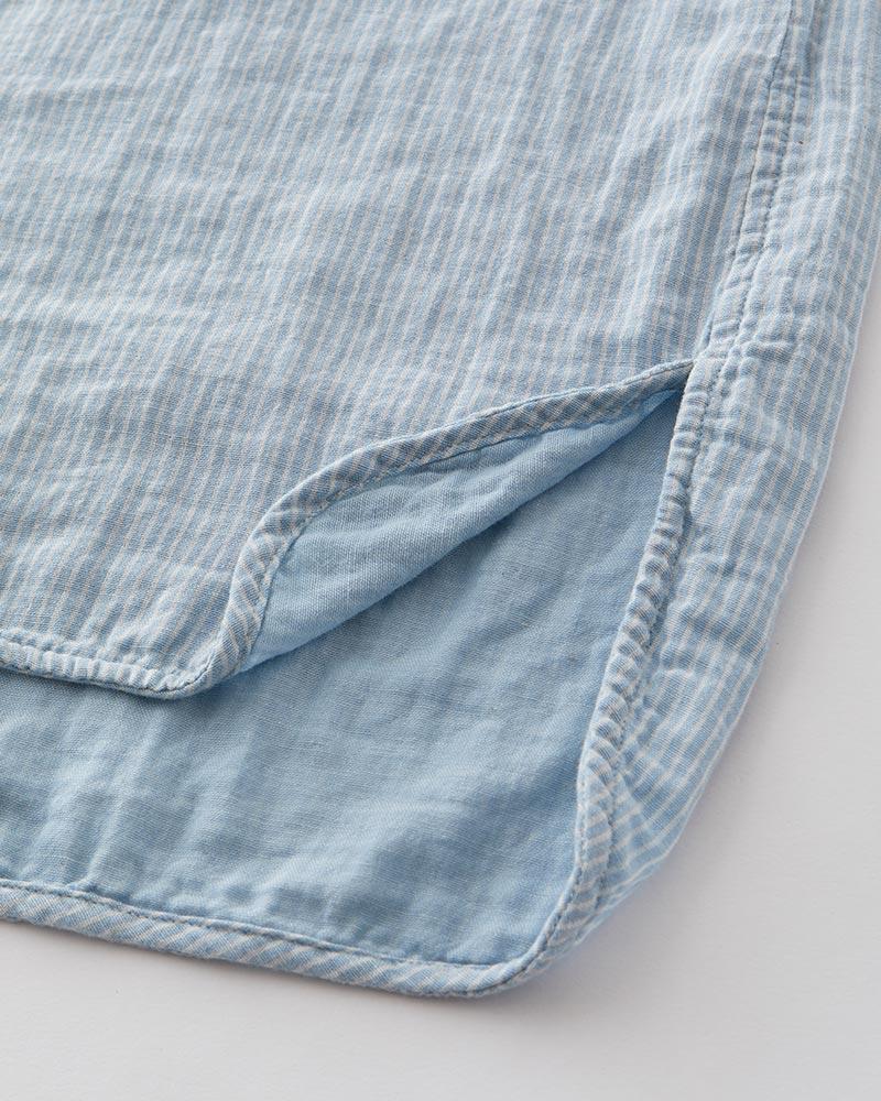【セット割対象商品】インディゴ染め ダブルガーゼ チュニックシャツ レディース 半袖(6分袖) ライトブルー(ストライプ) 日本製 blissful/ブリスフル