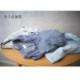 インディゴ染め ダブルガーゼ チュニックシャツ レディース 半袖(6分袖) ライトブルー(ストライプ) 日本製 blissful/ブリスフル