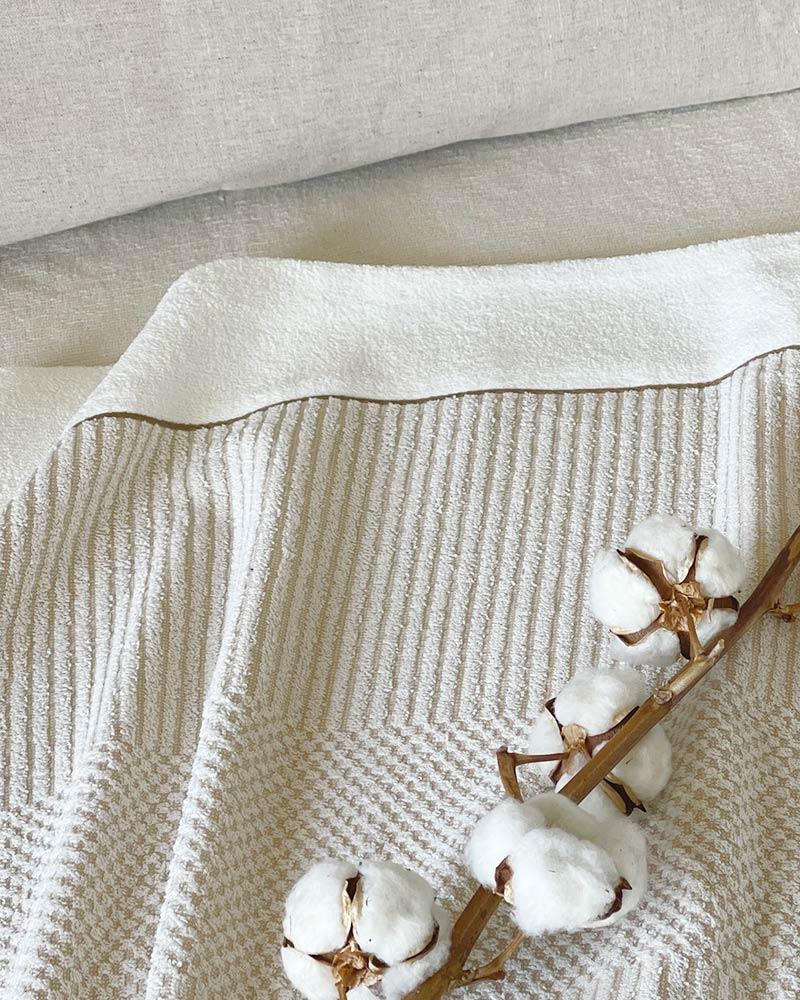 オーガニックコットン タオルケット シングル 柄織り 日本製 blissful/ブリスフル