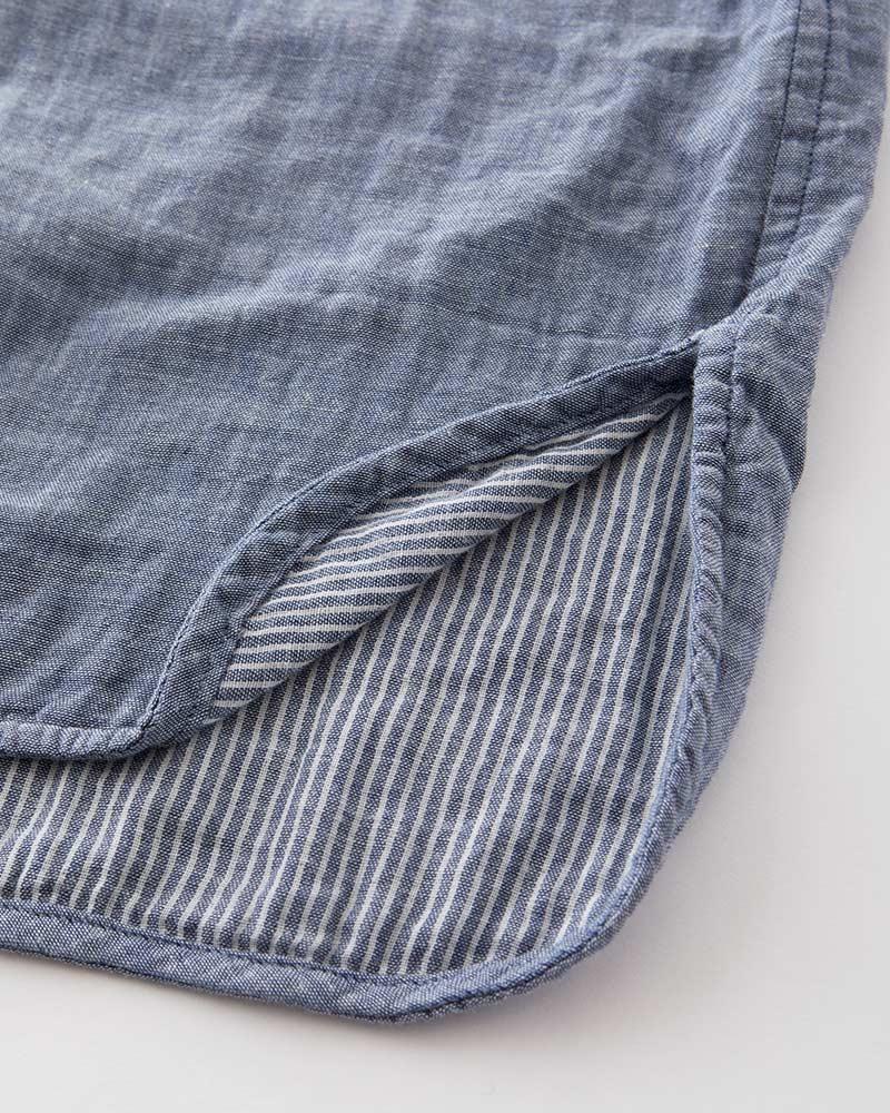 インディゴ染め ダブルガーゼ チュニックシャツ 半袖(6分袖) レディース  インディゴ 日本製 blissful/ブリスフル
