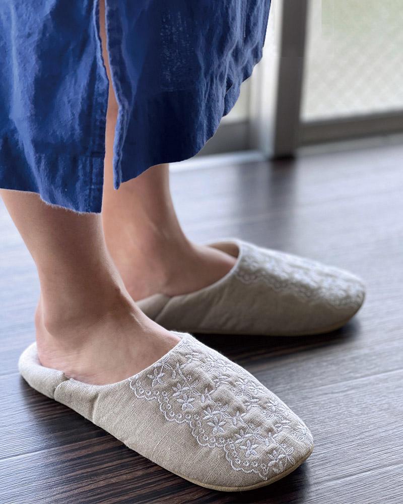 リネンバブーシュ ルームシューズ エンブロイダリーレース 刺繍 ベージュ 洗濯可 日本製 blissful/ブリスフル