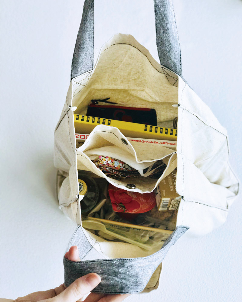 仕切れる 丈夫なツイントートバッグ エコバッグ ヨガバッグ 播州織 綿麻スラブダンガリー キナリ 日本製 blissful/ブリスフル