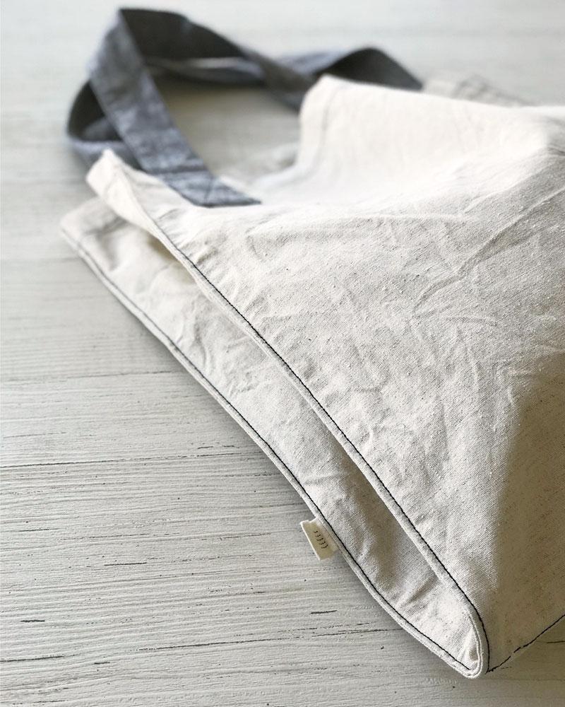 仕切れる 洗える丈夫なツイントートバッグ ヨガバッグ 播州織 綿麻スラブダンガリー キナリ 日本製 blissful/ブリスフル