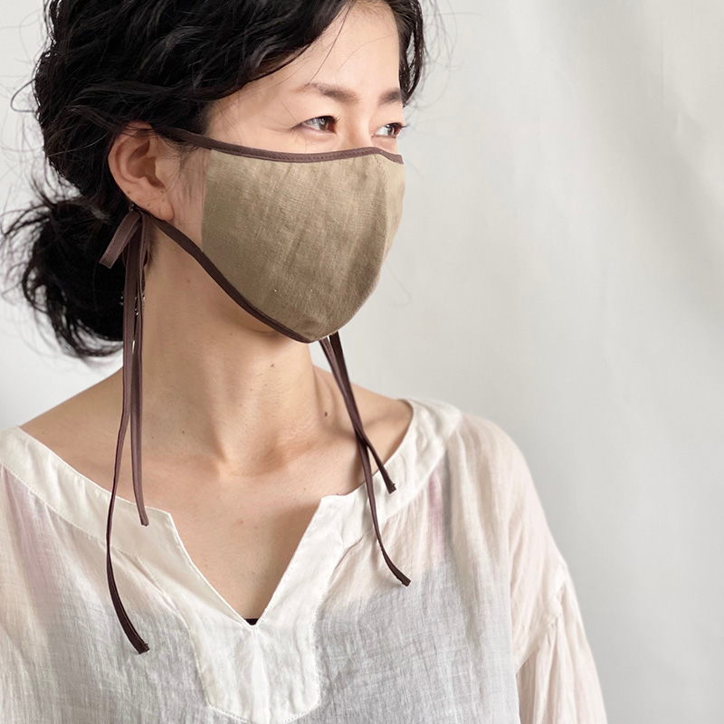 リネンマスク リボンマスク 立体 おしゃれ 洗える 日本製 blissful/ブリスフル
