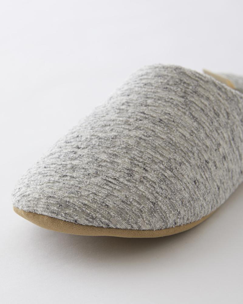 洗える ふんわり ルームシューズ  (シューズバッグ付き) 綿100%  ミックスグレー 日本製  blissful/ブリスフル