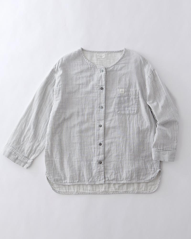 【おまとめ割】インディゴ染め ダブルガーゼ ノーカラーシャツ レディース 長袖(9分袖) ホワイト(ストライプ) 日本製 blissful/ブリスフル