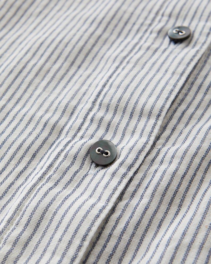 インディゴ染め ダブルガーゼ ノーカラーシャツ レディース 長袖(9分袖) ホワイト(ストライプ) 日本製 blissful/ブリスフル