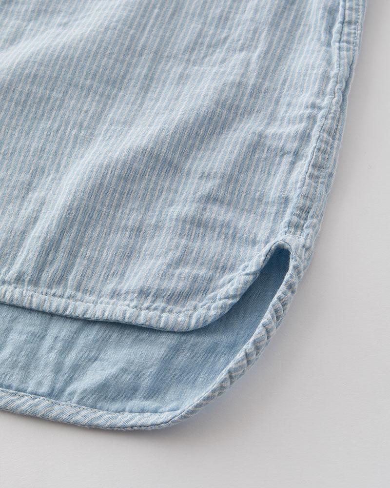 インディゴ染め ダブルガーゼ ノーカラーシャツ レディース 長袖(9分袖) ライトブルー(ストライプ) 日本製 blissful/ブリスフル