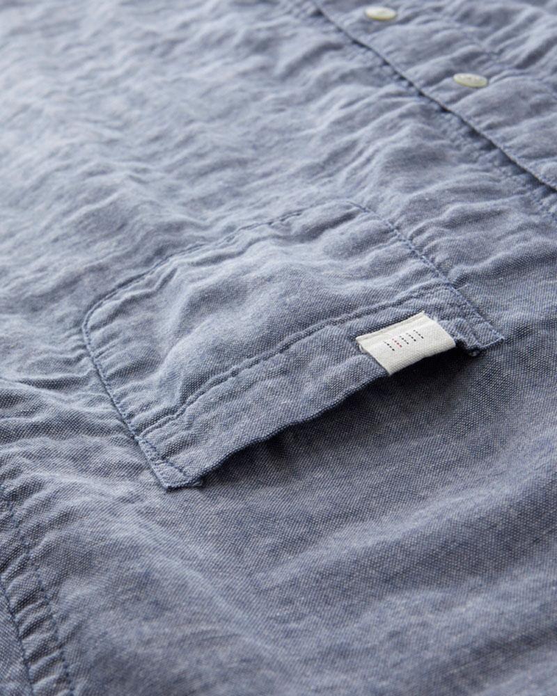 インディゴ染め ダブルガーゼ ノーカラーシャツ レディース 長袖(9分袖) インディゴ 日本製 blissful/ブリスフル