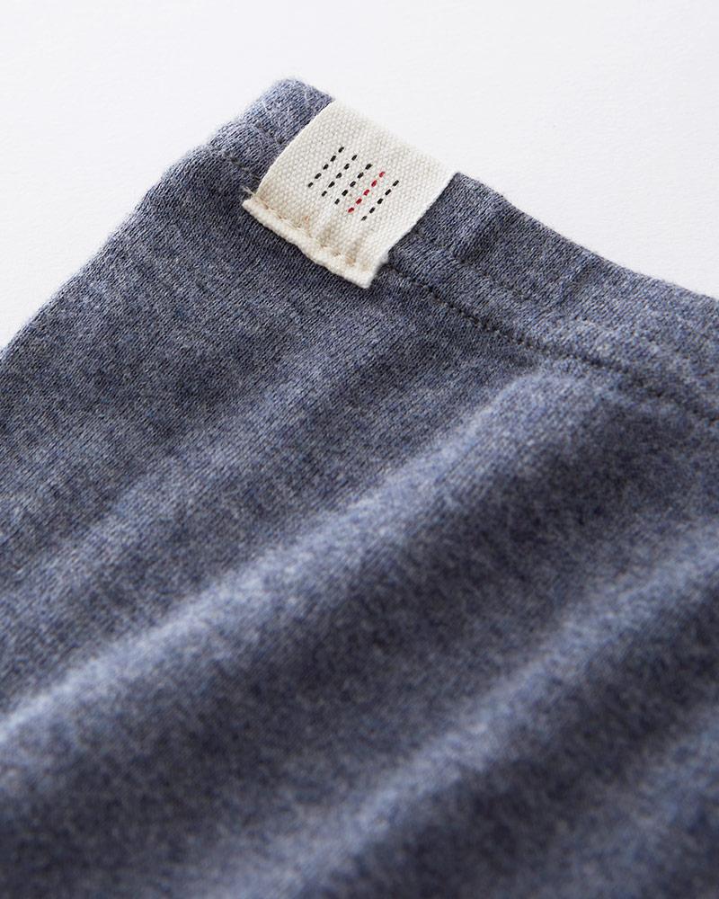 足元 冷房対策 オーガニックコットン 10分丈 レギンス 杢ネイビー 日本製 blissful/ブリスフル
