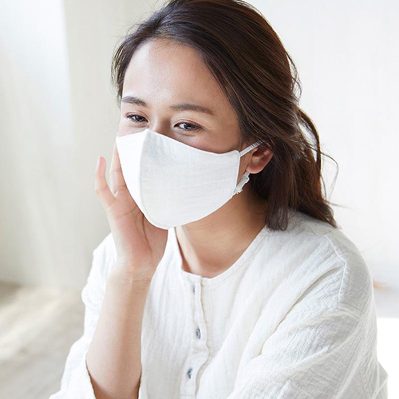就寝用 布製 おやすみ 立体マスク 大判 のど乾燥対策 天然水仕立て ダブルガーゼ 日本製 blissful/ブリスフル