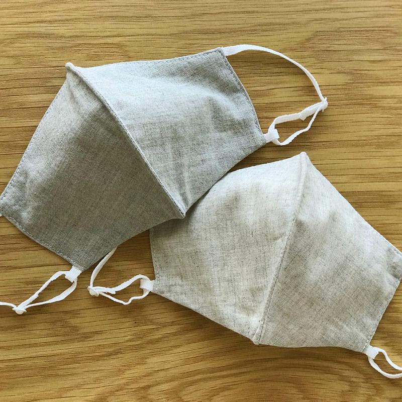 デイリー用布製マスク オーガニックコットンリネン 肌側ダブルガーゼ  立体マスク 大判  日本製 blissful/ブリスフル