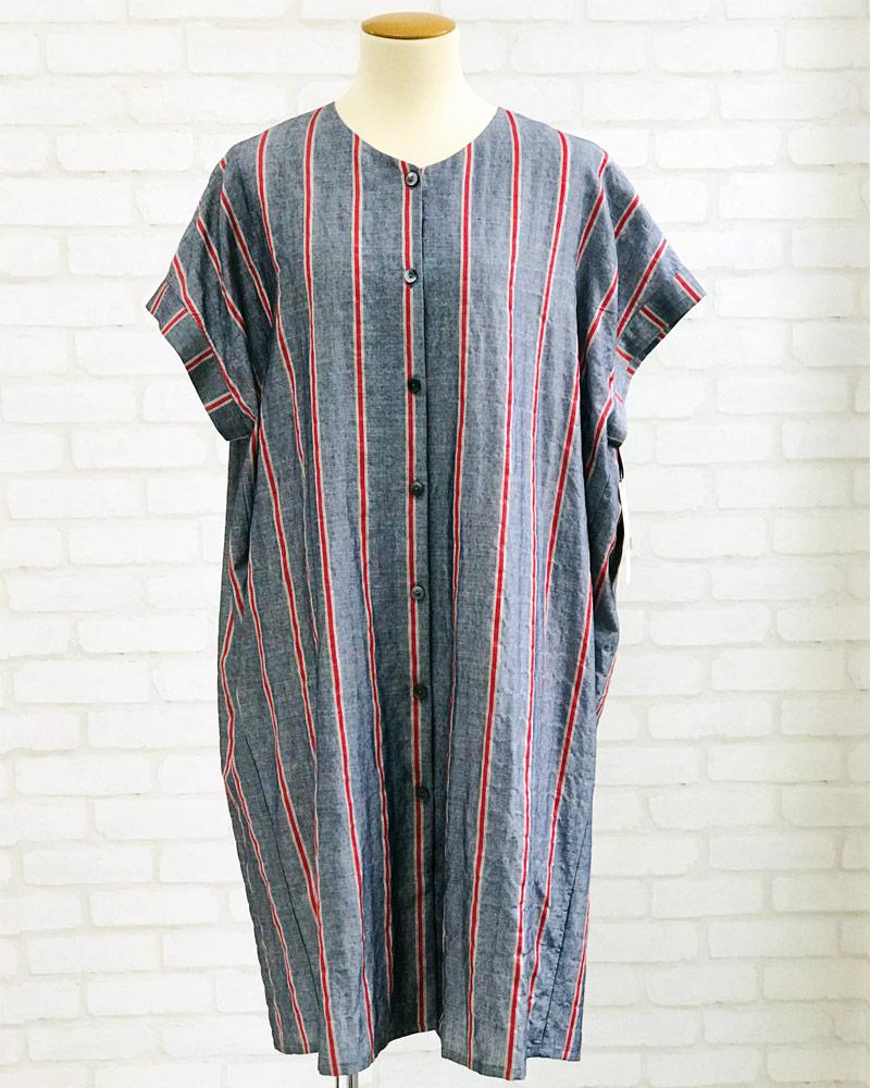 綿テンセル サッカー ワイドストライプ チュニックシャツ レディース インディゴ(ストライプ)  日本製 blissful/ブリスフル
