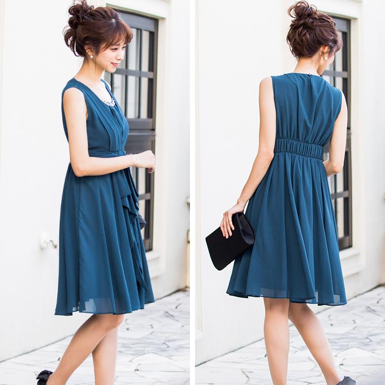 ウエストリボンタックワンピースドレス