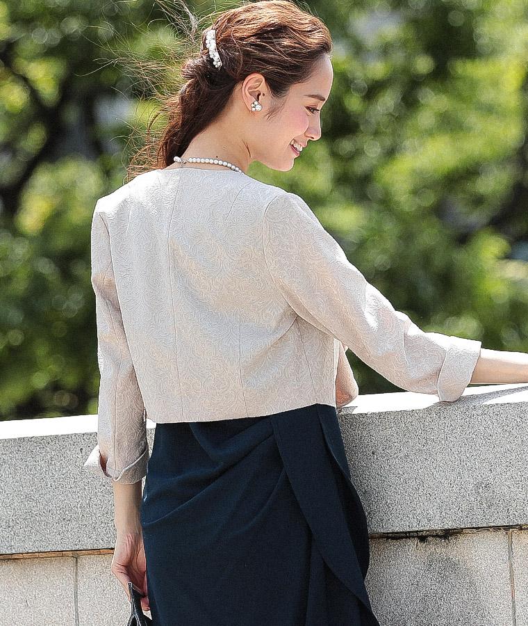 七分袖 刺繍デザインパーティボレロ