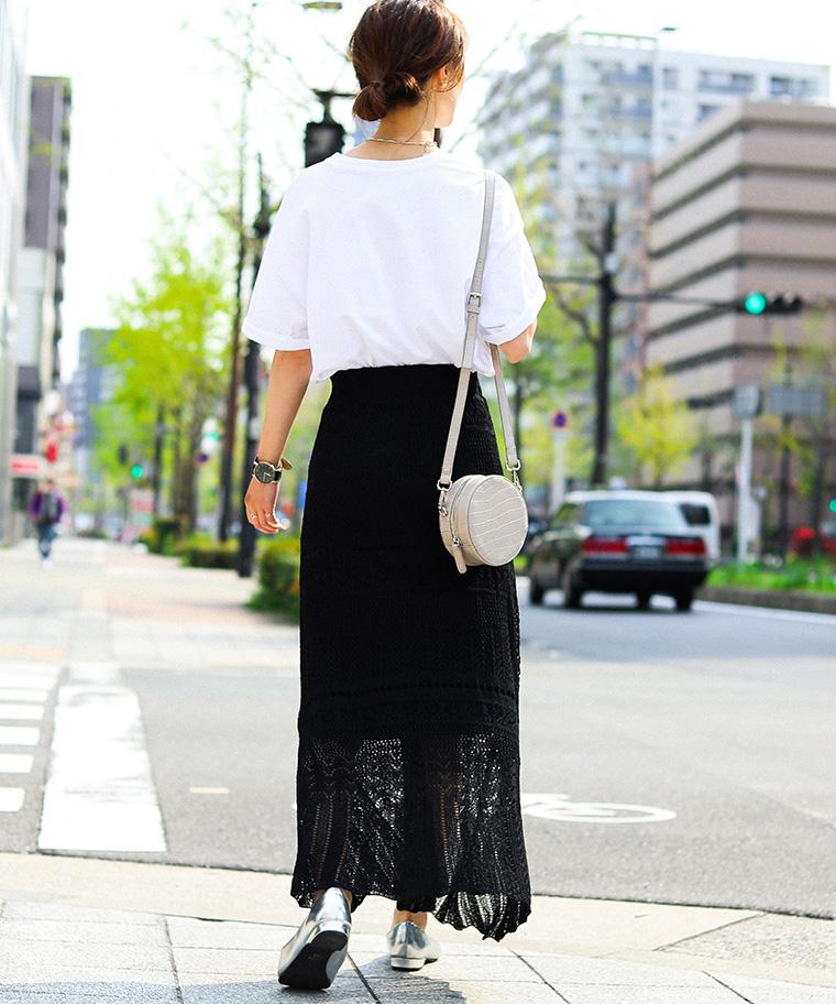 かぎ編みレースロングスカート