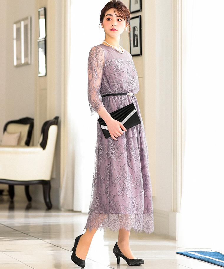 オールレースロングドレス