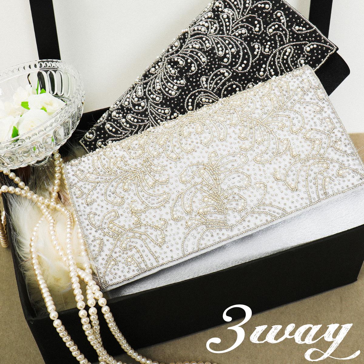ビジュー刺繍3wayパーティーバッグ