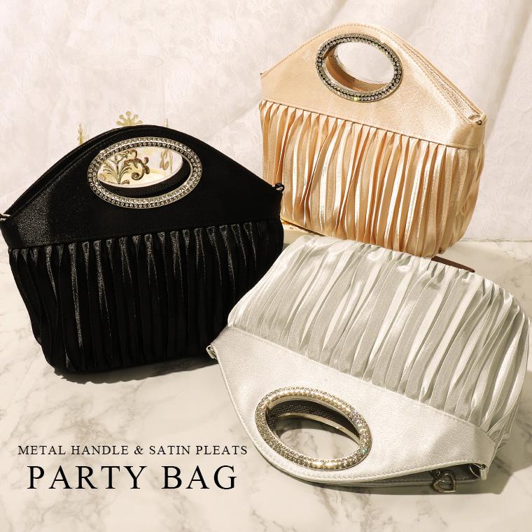 サテンプリーツ3wayパーティーバッグ