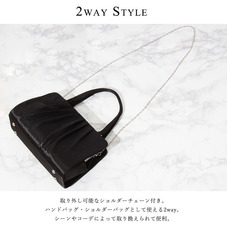 2way ビジューサテンハンドバッグ