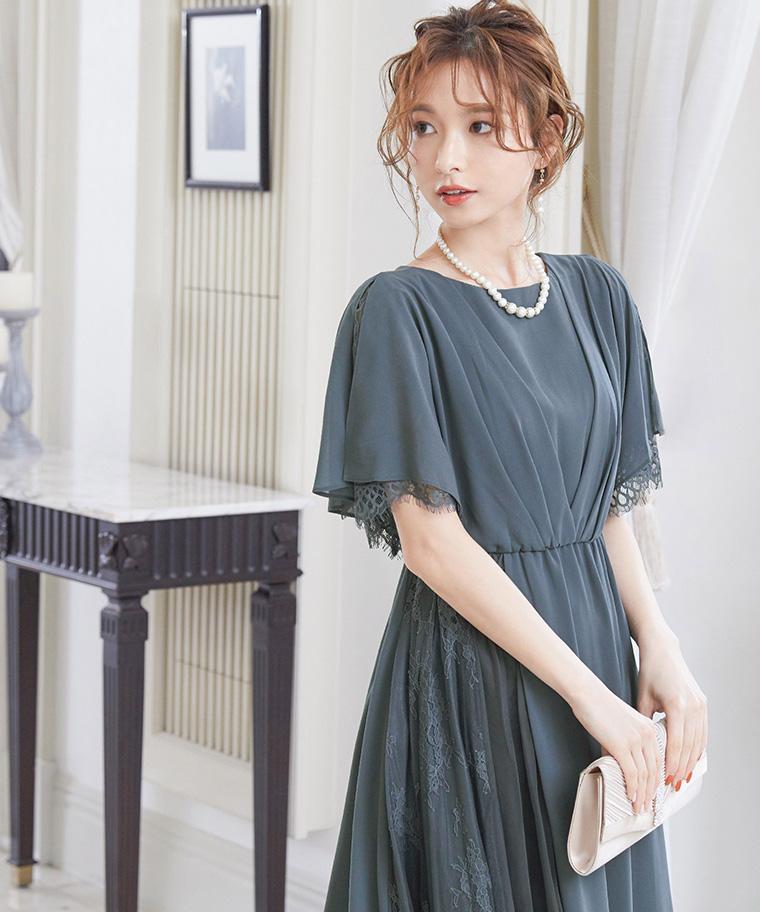 カシュクールデザイン レース×シフォンロングドレス
