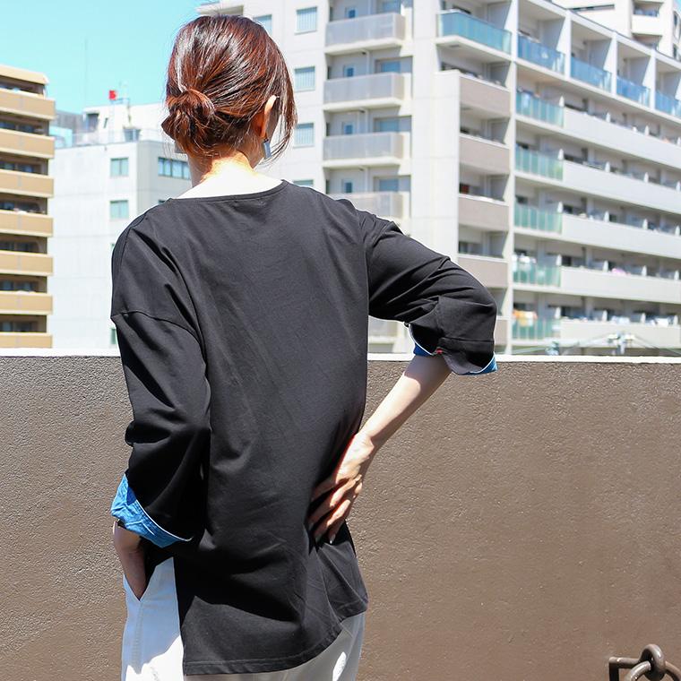 袖口ダンガリーロングTシャツ