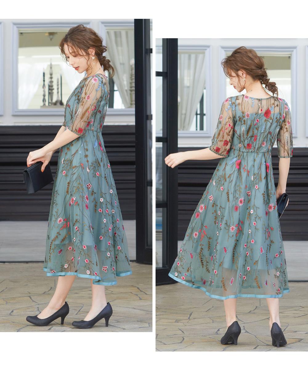 ヴィンテージ風フラワー刺繍ドレス