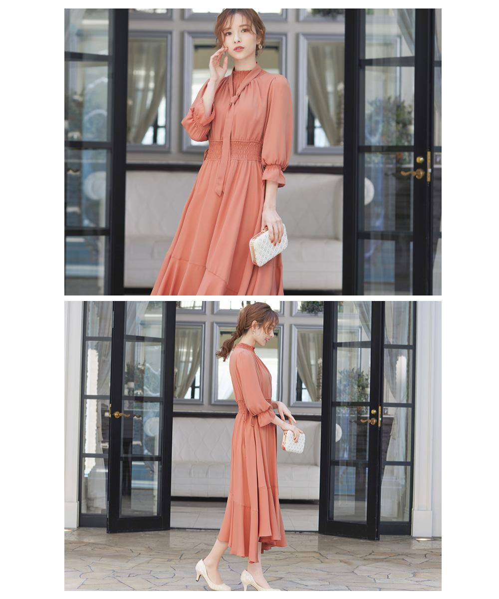 ボウタイ付きイレヘムワンピースドレス