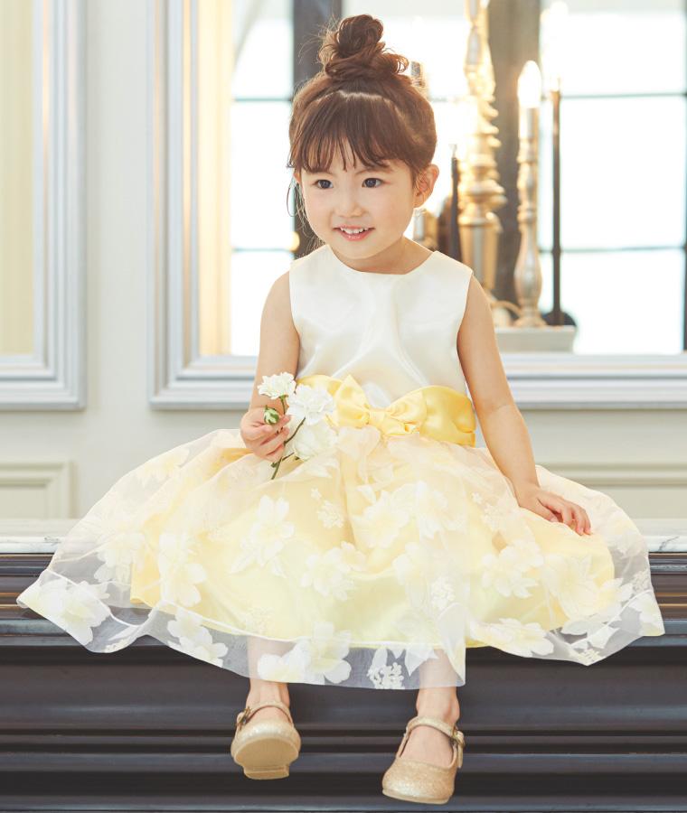 オーガンジー花柄スカートキッズドレス